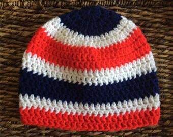 Adult Red White Blue Crochet Beanie Handmade