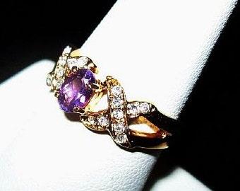 Natural Amethyst 14K YG Ring Diamond Accents Kisses & Hugs Ladies Sz 7 1/4 NOS