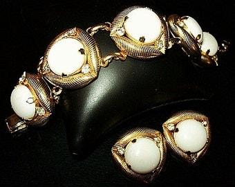 White Bracelet Earring Demi Set Cabochon & Clear Rhinestones Gold Textured Metal BIG Vintage