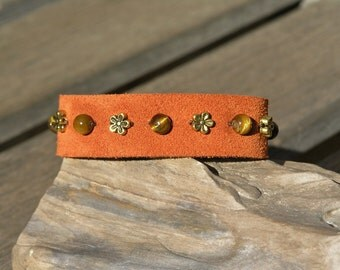 Tiger's Eye and Golden Daisies Beads on a Rust Suede Bracelet