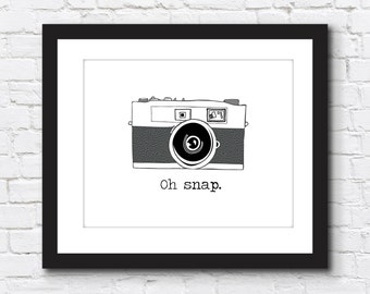 Oh Snap | Vintage Camera | Digital Wall Art | Home Decor