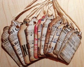 Gift Tag Assortment with Antique Book Pages, Shabby Chic, Wedding Wish Tags, Set of 12