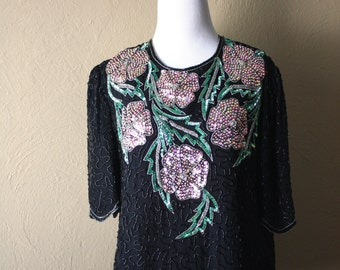 Vintage Beaded Floral Silk Blouse