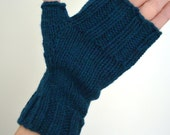 Sale: MANCHESTER MITTS (Adult Size Medium/large) - Fingerless Mitts - Dark Turquoise - Ready to ship