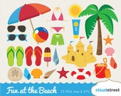 buy 2 get 1 free Fun at the beach clipart / vector beach clip art / summer vacation clipart / summer holiday clip art / commercial use ok