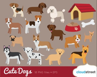 20% OFF Dogs Clip Art / Dog Clipart / Puppy vector graphics illustration / retriever dachshund bulldog pug poodle commercial use ok