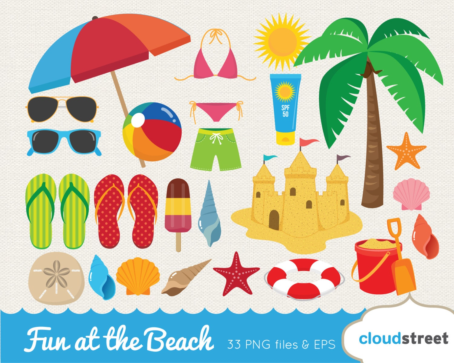 20% OFF Fun at the beach clipart / vector beach clip art