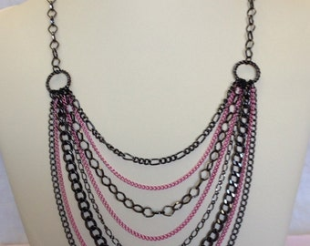 Gunmetal and Pink 8 Strand Chain Necklace