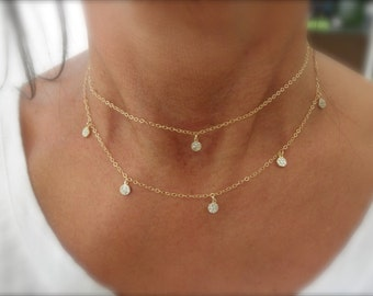 Layered CZ tiny charms necklace 14K gold-filled chain - set of 2 necklaces- layering necklaces - cz layered necklaces - multi cz charms