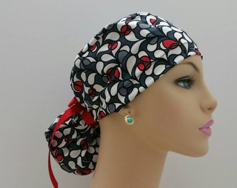 Ponytail Surgical Scrub Cap - Black -Red - Small Petals -100% cotton