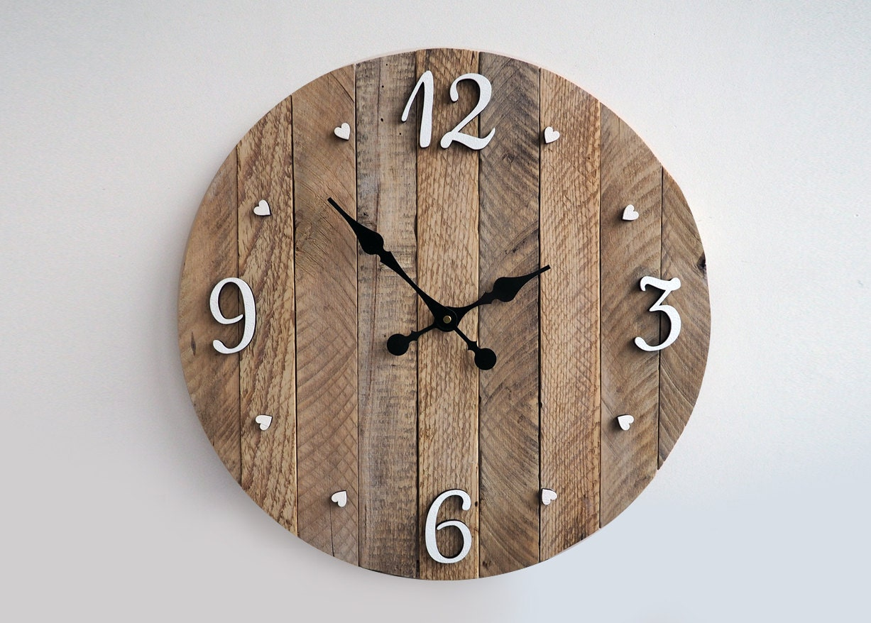 Rustic Wall Clock Large Wall Clock Weathered By Storiadellorso