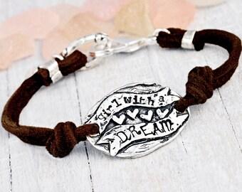 Girl with a Dream Bracelet - Inspirational Jewelry - Cowgirl Jewelry - Leather Bracelet - B392