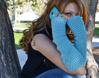 Fingerless gloves, long arm warmers, texting gloves, crochet arm warmers in frozen ice blue
