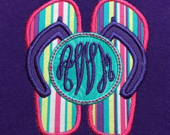 Adult Short Sleeve Appliqued Flip Flop with Custom Embroidered Personalized Monogram T-Shirt