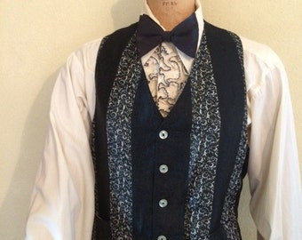 Classic  brocade black  and white tuxedo  vest or waistcoat
