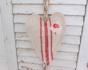 Grain sack heart sachet, lavender heart sachet with patch