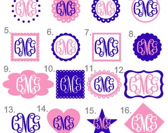 Personalized Vinyl Monogram Decal - one or two colors