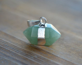 1 - Double Point Green Aventurine Pendant in Sterling Silver Plating Double Pencil Pointer Gemstone Jewelry Making Supplies