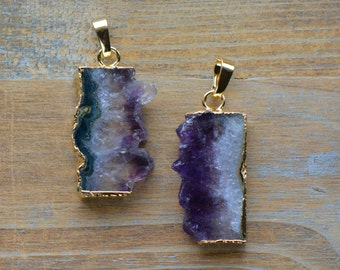 1 - Purple Amethyst Crystal Slice Pendant in 24K Gold Plated Edging Gem Gemstone Jewelry Making Supplies (DA133)