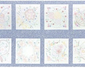 "Robert Kaufman - Lazy Daisy Baskets 3 - Vintage Blocks Panel Blue- 24"" x 44"" PANEL Fabric"