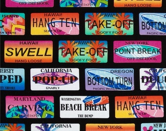 NEW - Benartex Fabric - Surf's Up - Surf City Cool Lisence Plates -Black - Choose Your Cut 1/2 or Full Yard