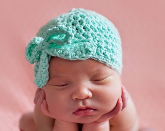 baby girl hat, newborn girl hat, crochet girls hat, girls hat, newborn girls hat, little girl hat, teal hat