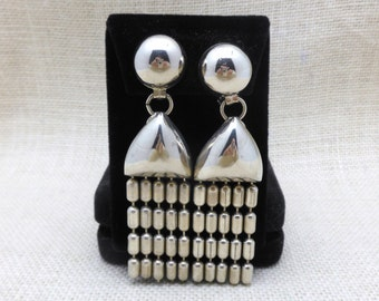 1960's Big, Bold, Funky, Costume Jewelry, Clip On Earrings in Silver Metal
