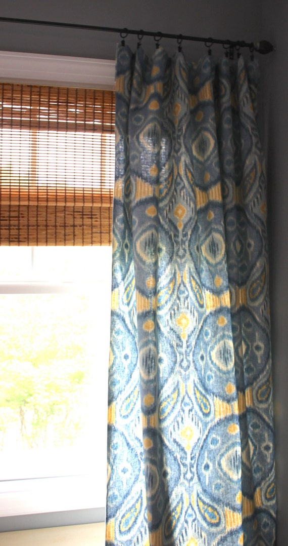 blue and yellow ikat curtain panels custom drapery in kravet 39 s