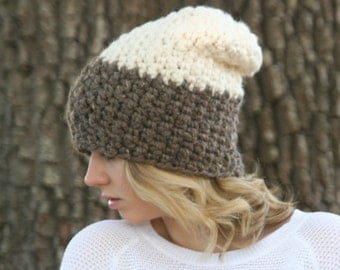 Chunky Two Tone Slouchy Beanie Hat THE McKINLEY Textured Crochet Winter Hat Fisherman- Barley