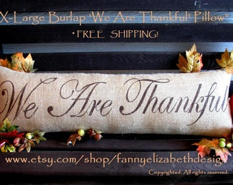XL Fall Pillow-FREE SHIPPING-Thankful-Thanksgiving Pillows-Fall Pillows-Fall-Burlap Pillow- Fall- Burlap Fall Pillow