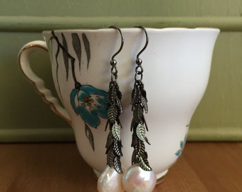 Gunmetal Leaf Chain and Coin Pearl Earrings