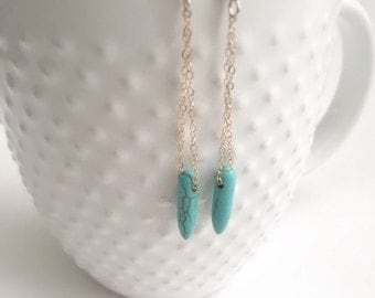 Turquoise Spike Gold Earrings, 14k Gold Filled Earrings, Boho style, Turqouise Spike Pendant, Birthday Gift, Mondern, Simple