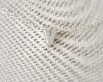 Small Letter V Necklace, Sterling Silver Necklace, Initial V Charm/Pendant,Birthday Gift, Uppercase Letter V,Letter V Pendant, 3D Initial V