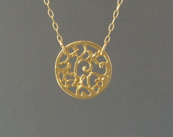 Medium Gold Filagree Disc Necklace