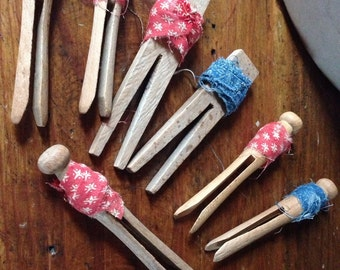 Set of seven Primitive Vintage Clothespins~ Clothespin bowl fillers~ 1800's Indigo and redfabric~ Patriotic Americana~ two Hand carved~