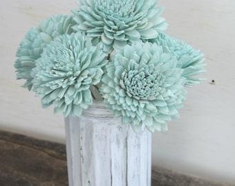 "Stemmed Sola Flowers Mint Ivory or Blush Dahlia 2"" Set of 6 DIY Bride Bouquet Craft Supply Decoration Sola Wood"