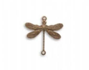 Vintaj 17x17mm 2-hole Dragonfly  (2)  - Natural Brass