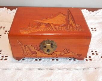 Vintage Jewelry Box Carved Wood Wooden Trinket Box Jewelry Storage Metal Hinges