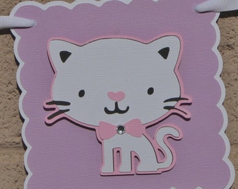 Kitty, Cat, Birthday Banner. Lilac. Pink