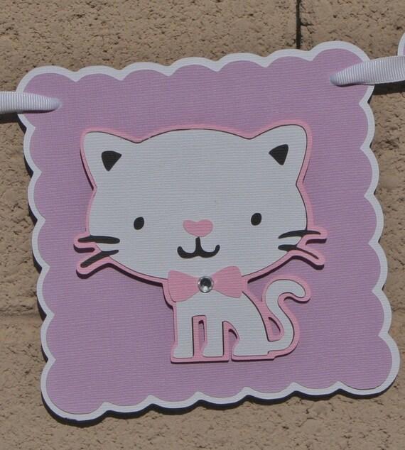 Cat Birthday Banner: Kitty Cat Birthday Banner. Lilac. Pink