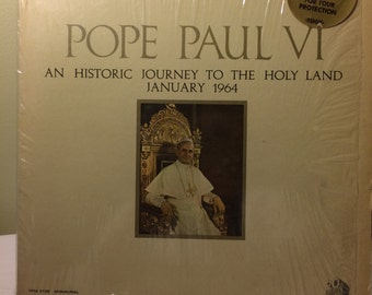 """Vintage Album """"Pope Paul VI An Historic Journey To The Holy Land January 1964"""" Spoken Word Album"""