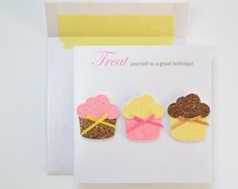 """Birthday Greeting Card: """"Cupcake Trio"""""""