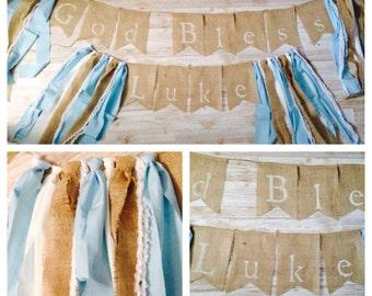 Shabby Chic Baptism Dedication God Bless Burlap Banner Bunting Blessings