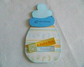Baby Boy bottle shaped card blue