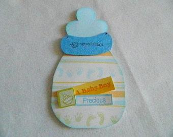 Baby Boy bottle shaped card blue