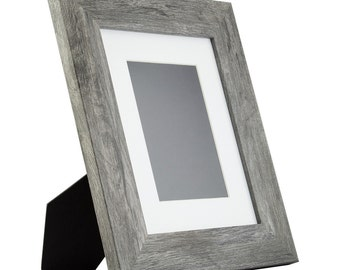 Bauhaus Table-top 8x10 Modern Gray Barnwood Standing Picture Frame with Mat (740300810EASEL1)