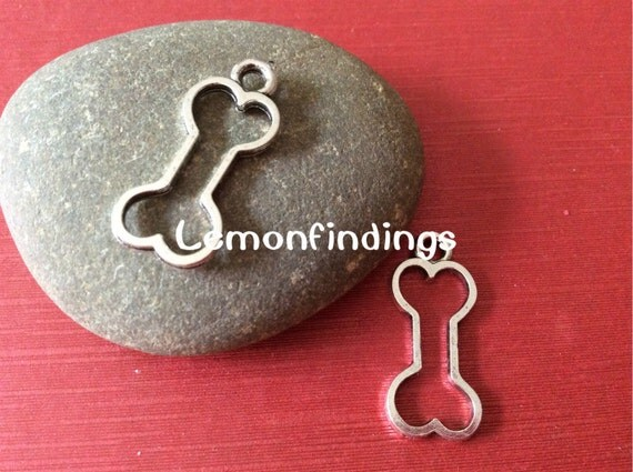 25pcs tibetan sliver 25mmx11mm dog bone charms pendant findings