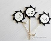 10 wedding table numbers . stick table number . table sign . black table numbers . pinwheel ninja star . # 1-10