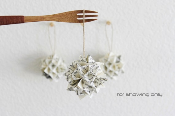 RESERVED for Daphne: 3 origami kusudama . 2 1/2''  paper spiky ball . wedding decor . wedding gift . holiday ornaments -ECO book page