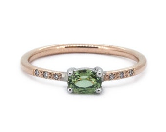The Little Amelia Ring - Green Sapphire & Diamond Engagement Ring